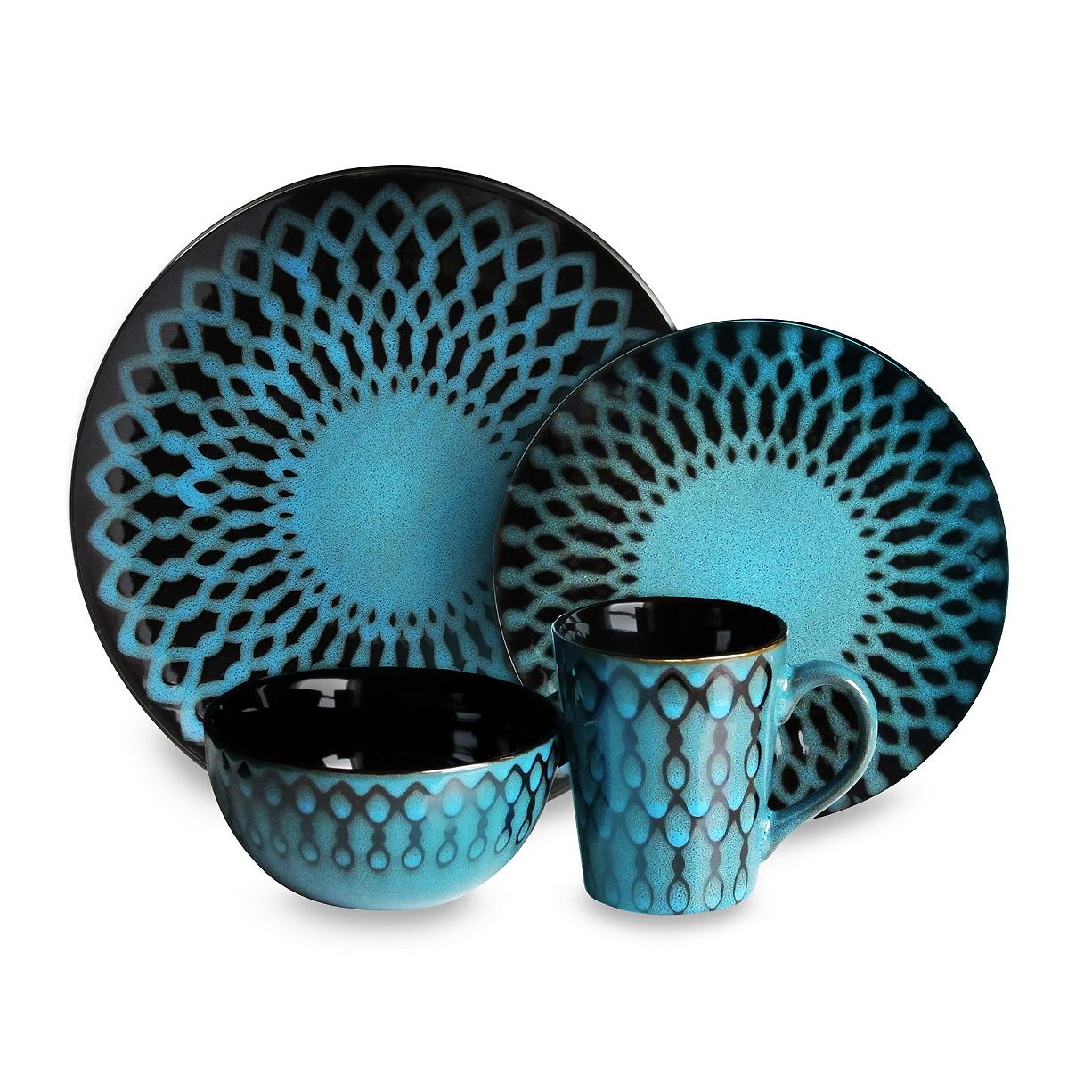 American Atelier Sicily Blue 16 Piece Dinnerware Set