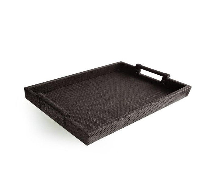 Faux Leather Serving Tray with Handles