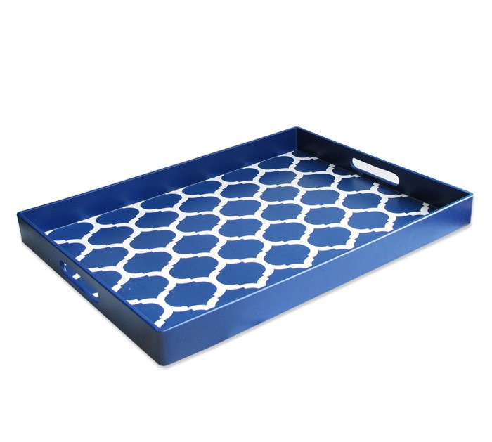 American Atelier Garden Lattice Blue Tray
