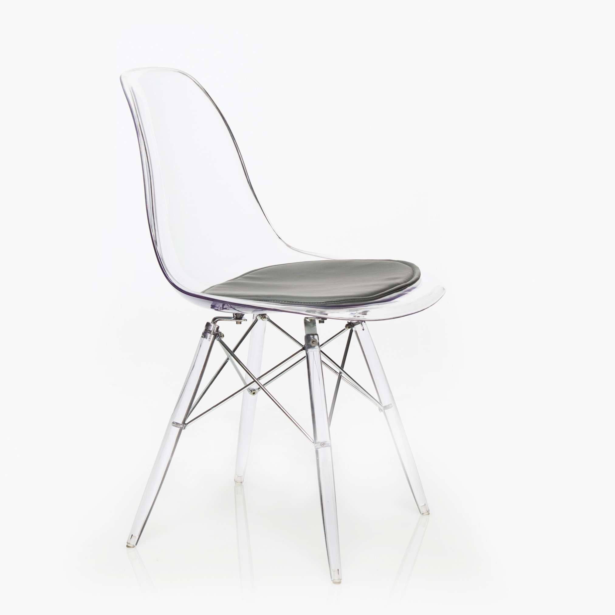 Design Guild Banks Clear Chair with Gray Cushion
