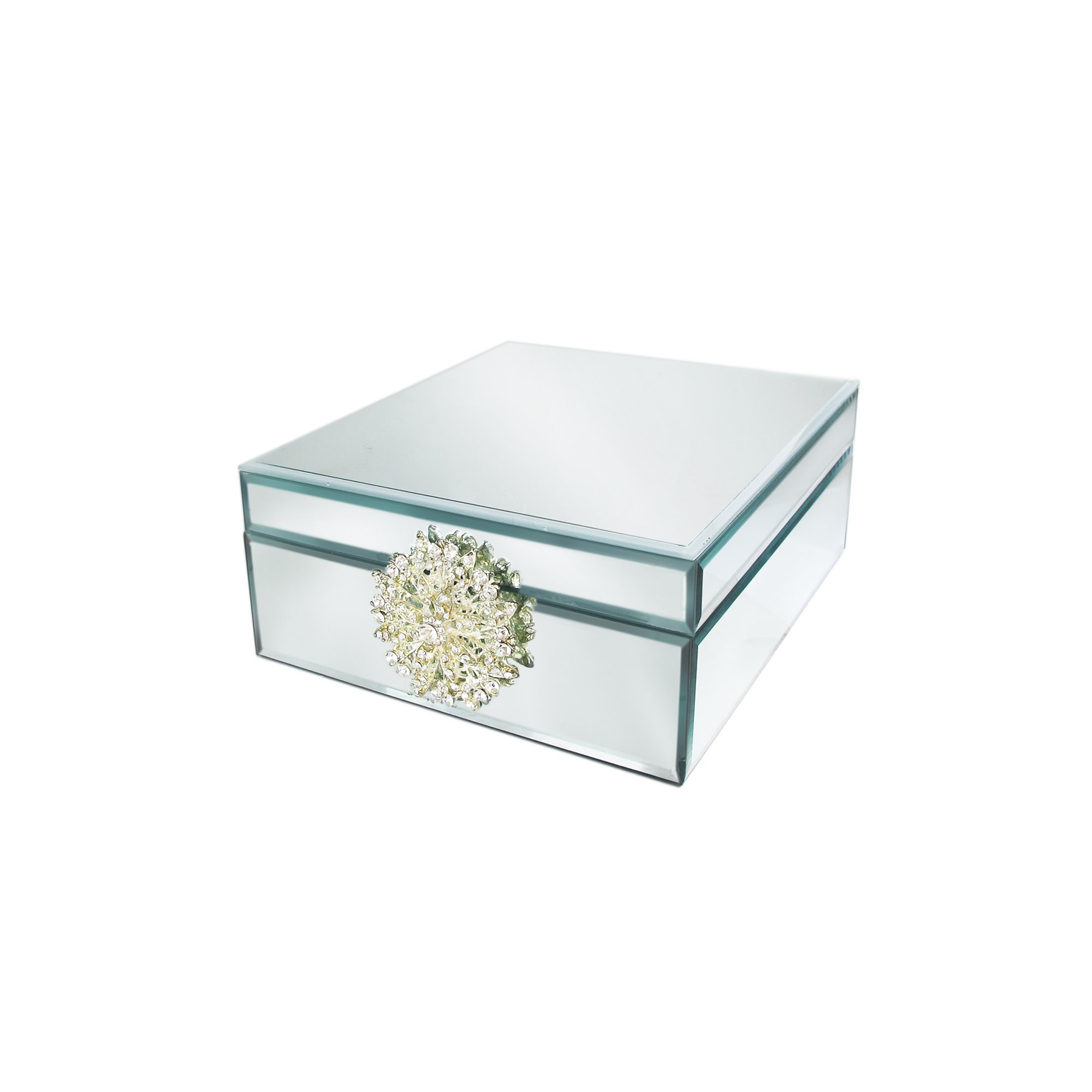 American Atelier Square Mirror Jewelry Box with Brooch