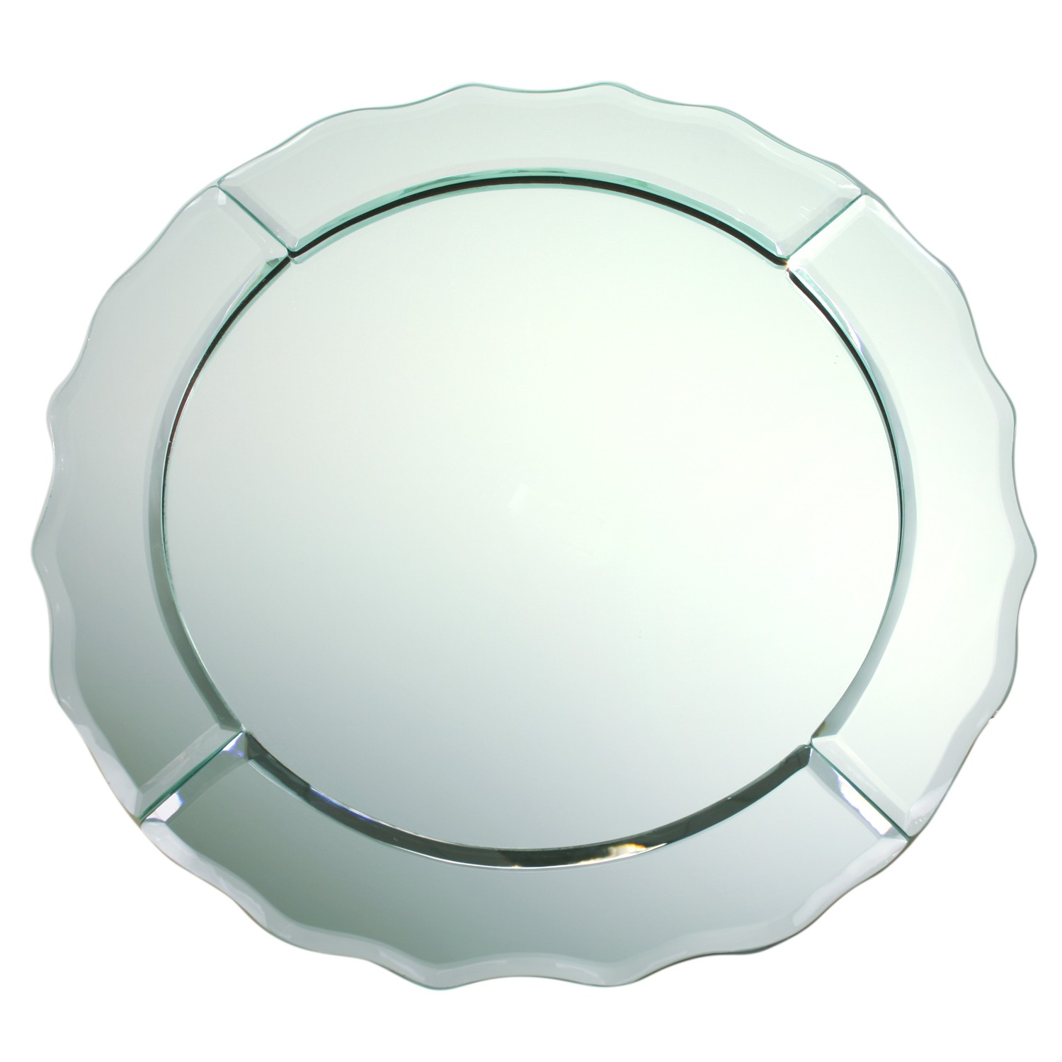 Chargeit! By Jay Scallop Edge Round Mirror Charger Plate
