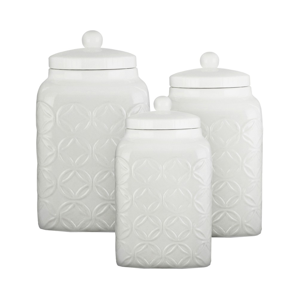 American Atelier White Embossed Canister 3-Piece Set Ceramic Jars Chic Design with Rubber Seal Lids for Cookies, Candy, Coffee, Flour, Sugar, Rice, Pasta, Cereal & More
