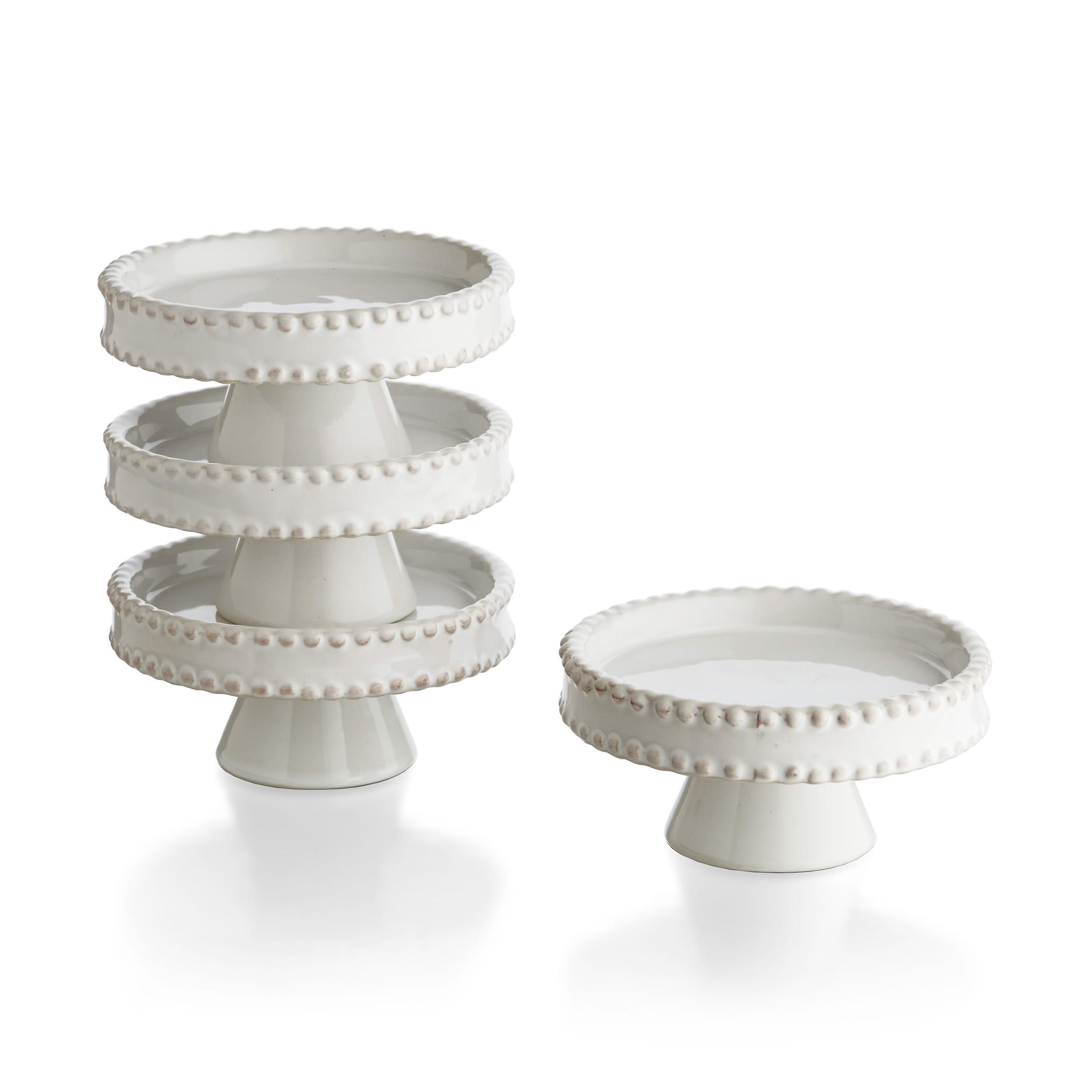 American Atelier Bianca Bead Cupcake Pedestal Plates, Set of 4