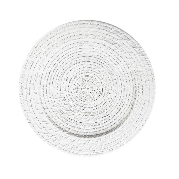 ChargeIt by Jay White Round Rattan Charger Plates - Set of 4