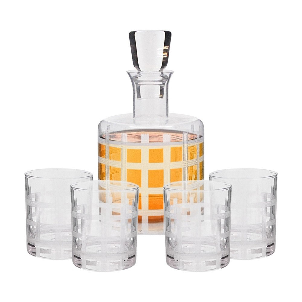 Fifth Avenue Crystal 5 Piece Elegant Decorative Whiskey Decanter Set Ornate Top Lead Free Glass with 4 Glasses for Wine, Bourbon, Brandy, Liquor, Juice and Water – Makes For an Ideal Gift