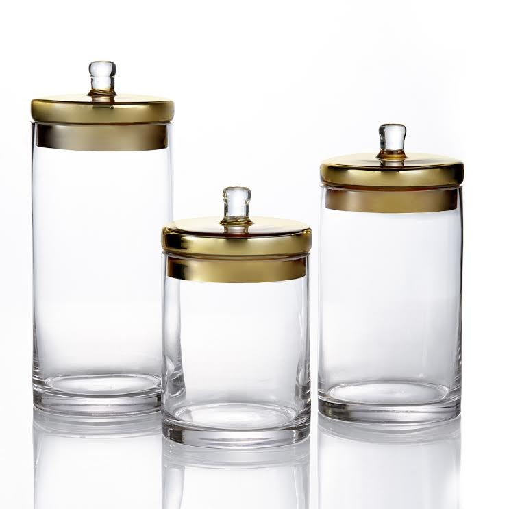 Fifth Avenue Crystal Canister Set 3-Piece Glass Jars With Gold Lids for Cookies, Candy, Coffee, Flour, Sugar, Rice, Pasta, Cereal & More