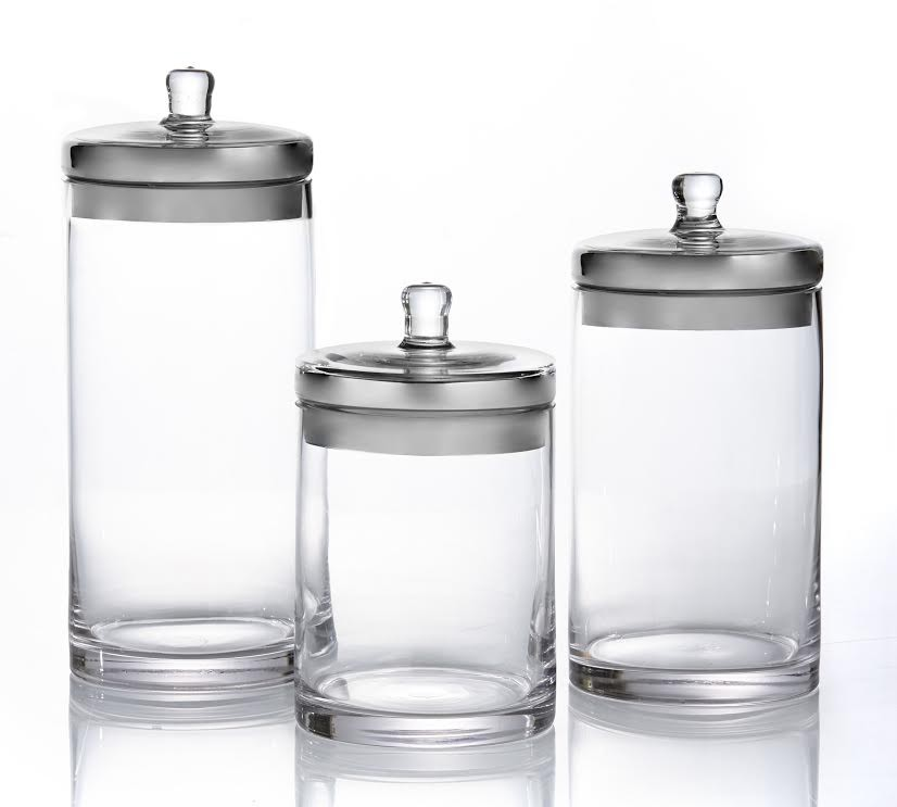 Fifth Avenue Crystal Canister Set 3-Piece Glass Jars With Silver Lids for Cookies, Candy, Coffee, Flour, Sugar, Rice, Pasta, Cereal & More