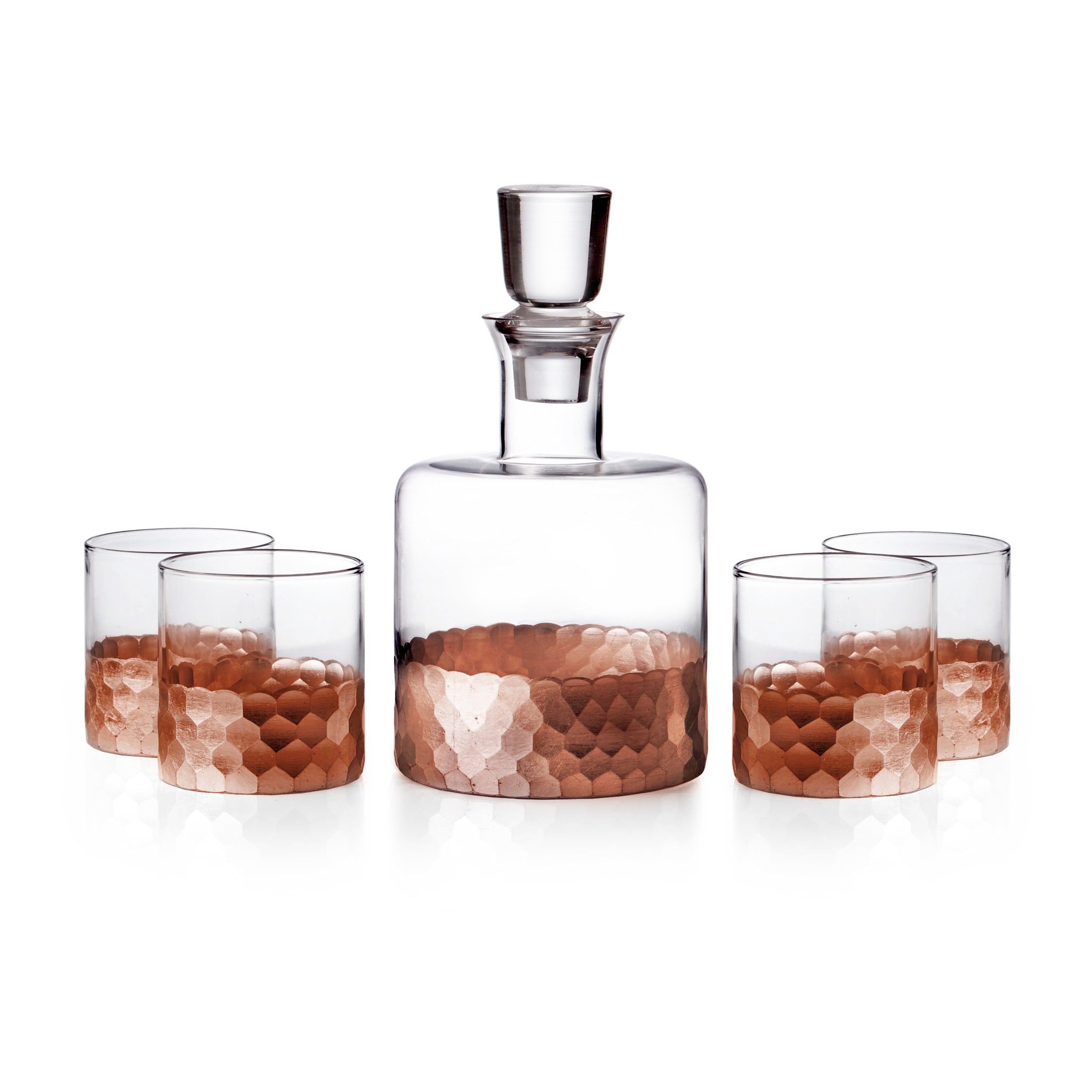 Fitz & Floyd Daphne 5 Piece Whiskey Decanter Set