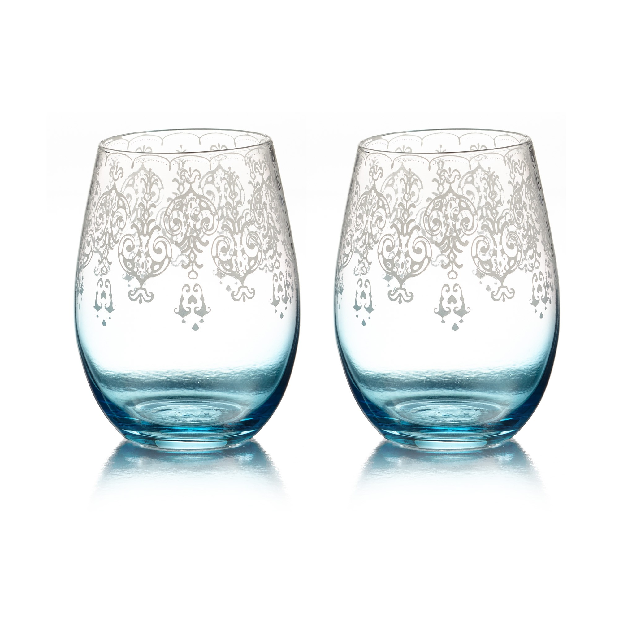 Fifth Avenue Crystal Lace Set of 2 Stemless Glasses