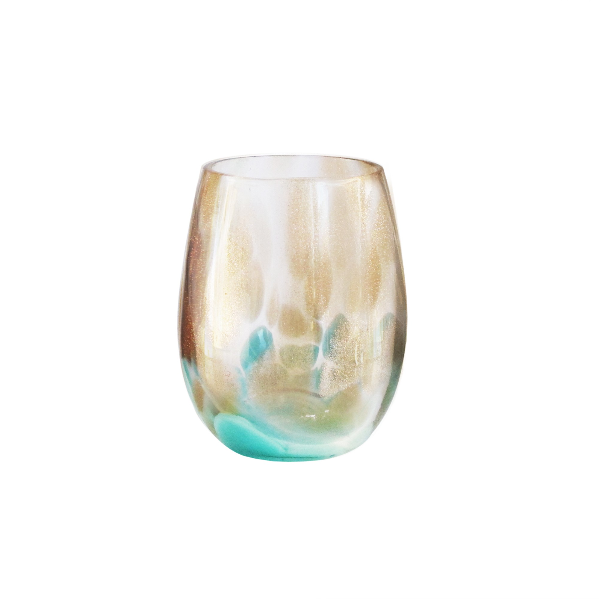 Fitz & Floyd Simone Set of 4 Stemless Goblets-Teal/Gold
