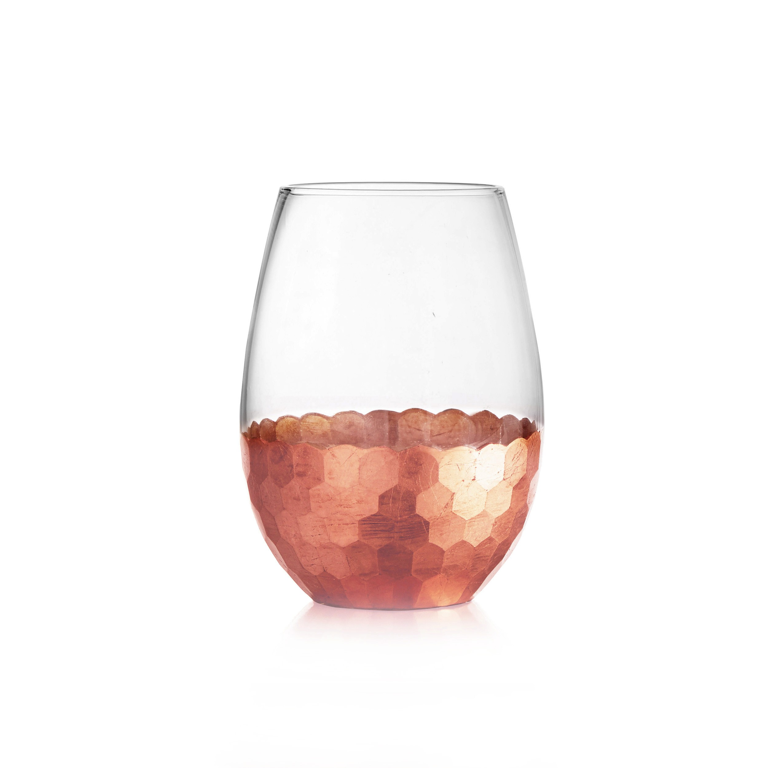 Fitz & Floyd Daphne Copper Set of 4 Stemless Glasses