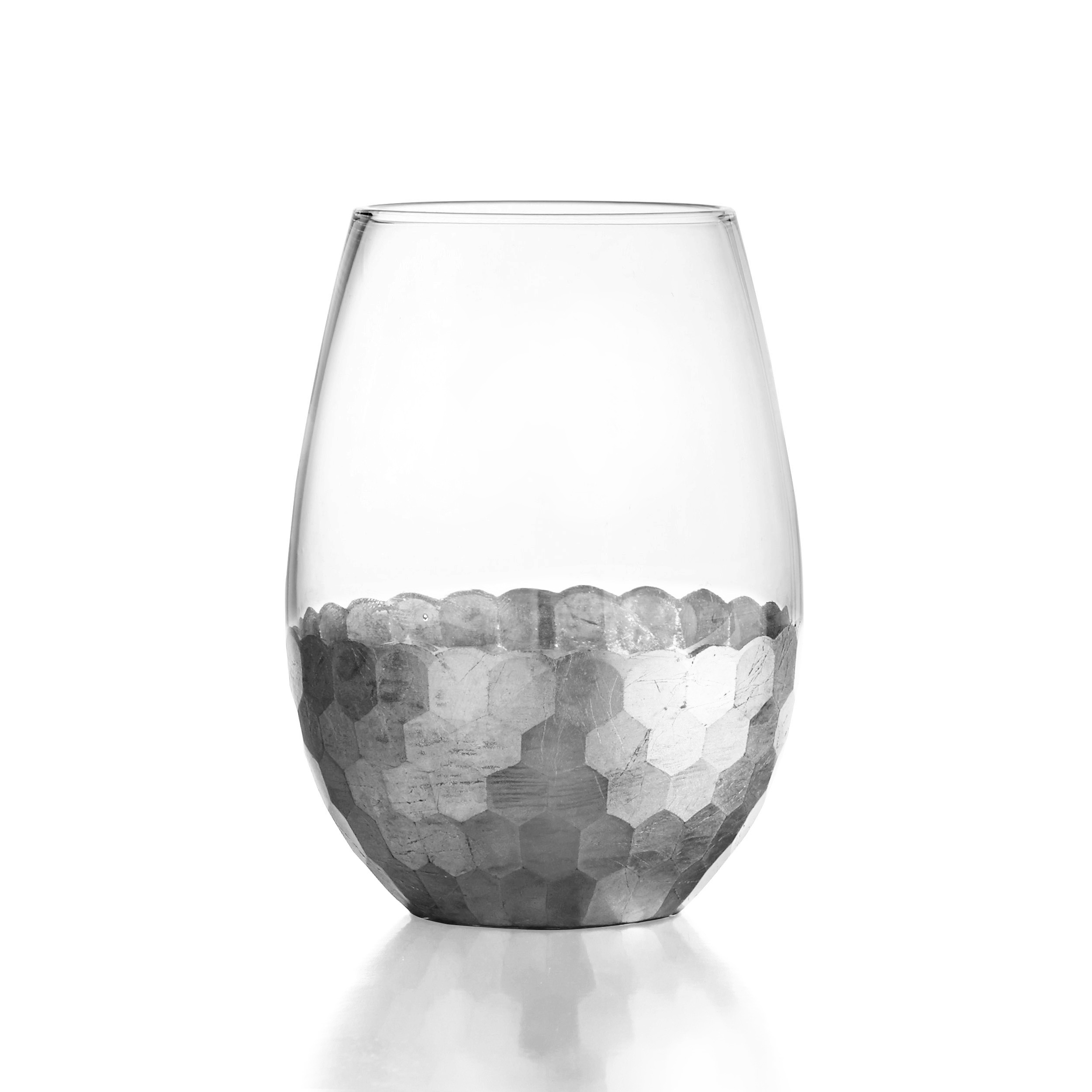 Fitz & Floyd Daphne Silver Set of 4 Stemless Glasses