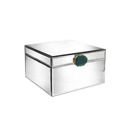 American Atelier Dark Green Agate Glass Jewelry Box