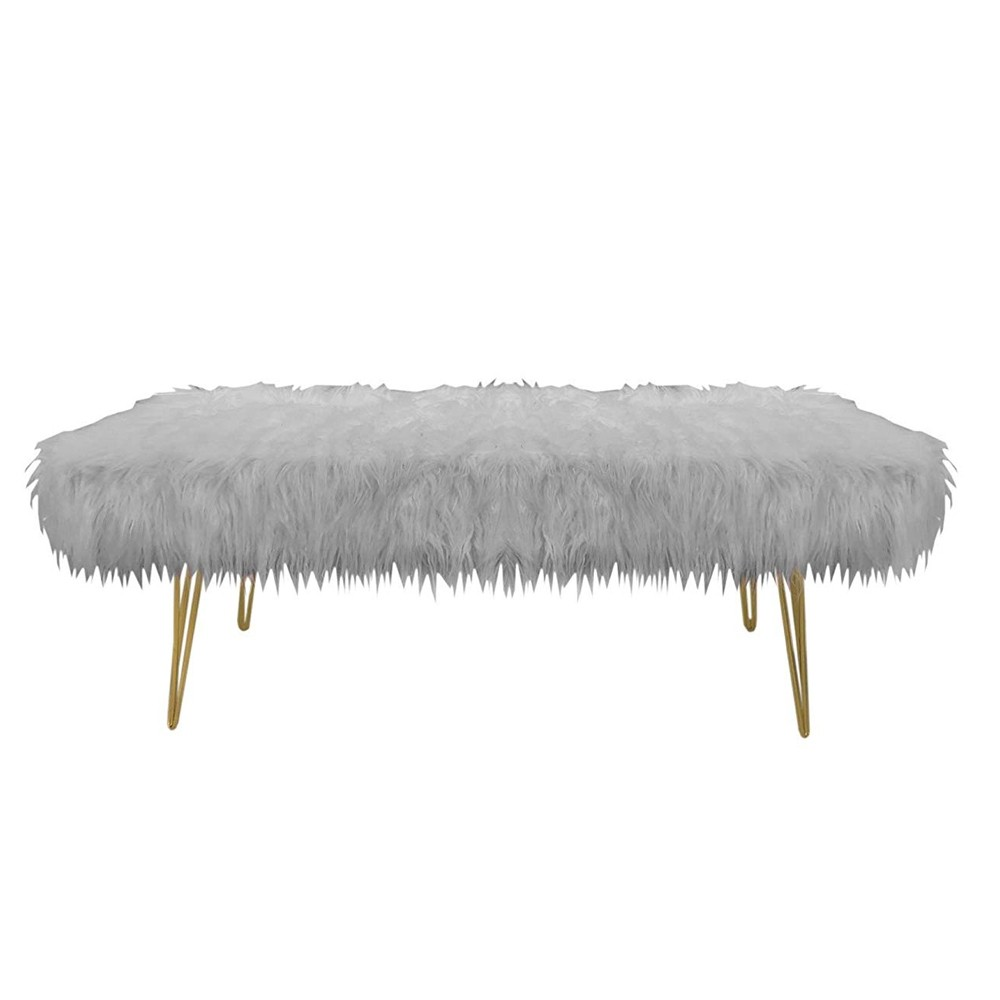 Design Guild 1240067 Faux Fur Bench with Gold Metal Legs - Gray