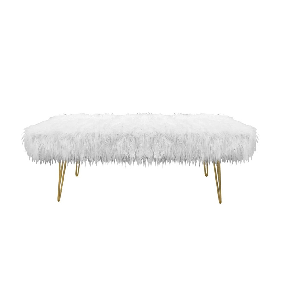 Design Guild 1240066 Faux Fur Bench with Gold Metal Legs - White