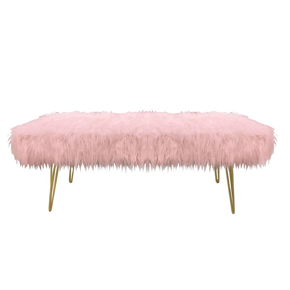 Design Guild 1240068 Faux Fur Bench with Gold Metal Legs - Pink