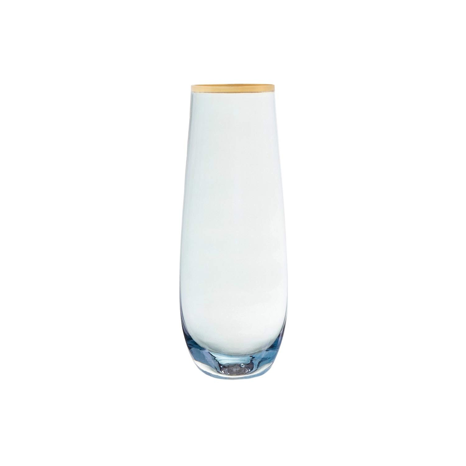 Fifth Avenue Crystal Vivienne Set of 4 Stemless Flutes-Blue/Gold