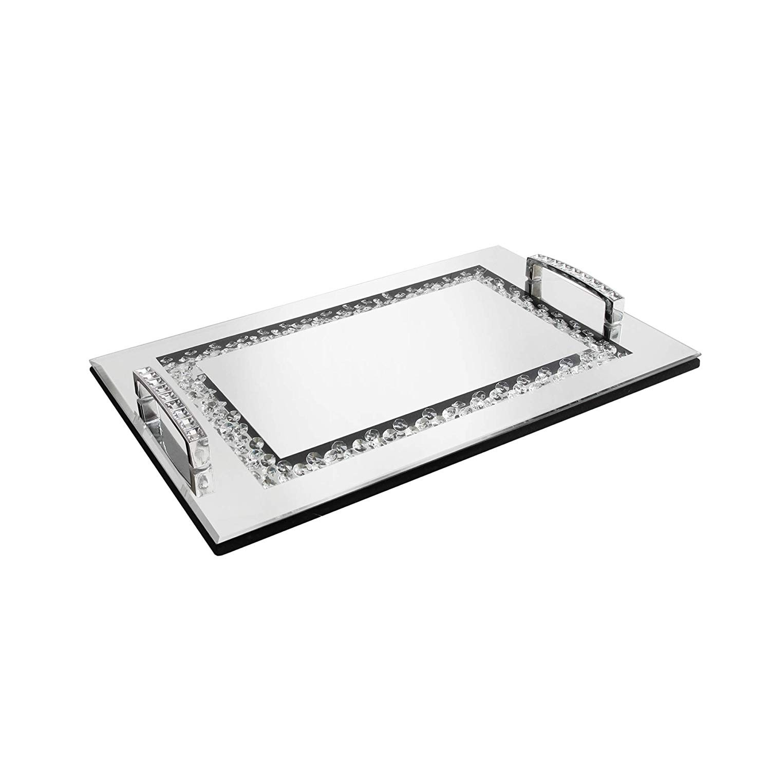 American Atelier Jewel Mirror Tray with Handles, Small
