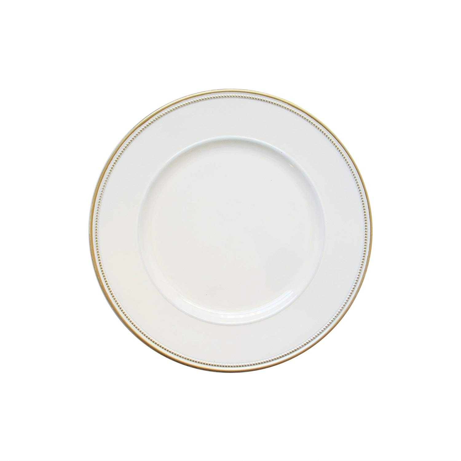 """Round Charger Plates 13"""" Diameter, Set of 4 – WHITE/GOLD"""