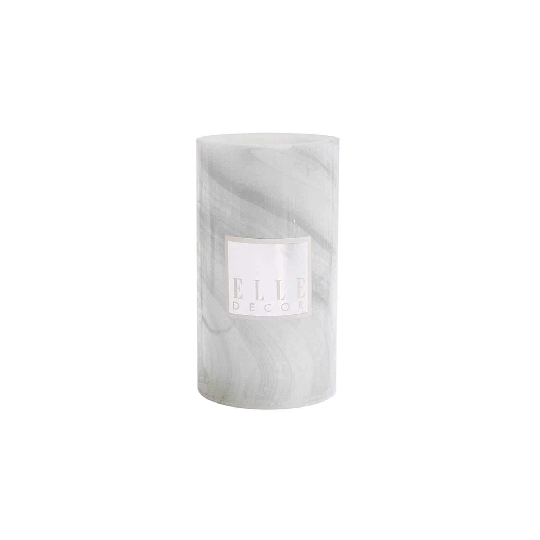 "Elle Decor 1135976GR Marble Round Pillar LED Candle 3 X 6"", Gray"