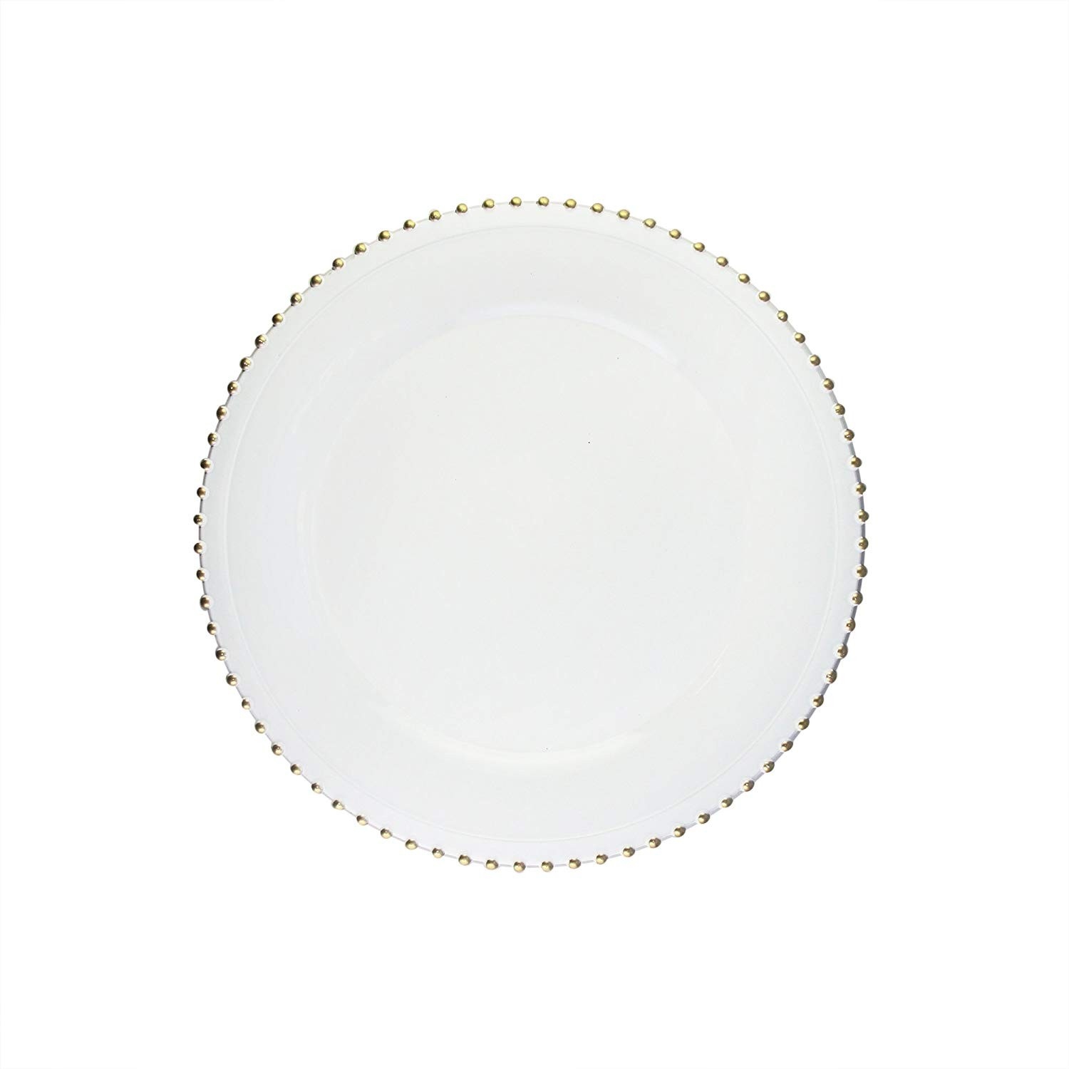 """Round Beaded Edge Charger Plates 13"""" Diameter, Set of 4 – WHITE/GOLD"""