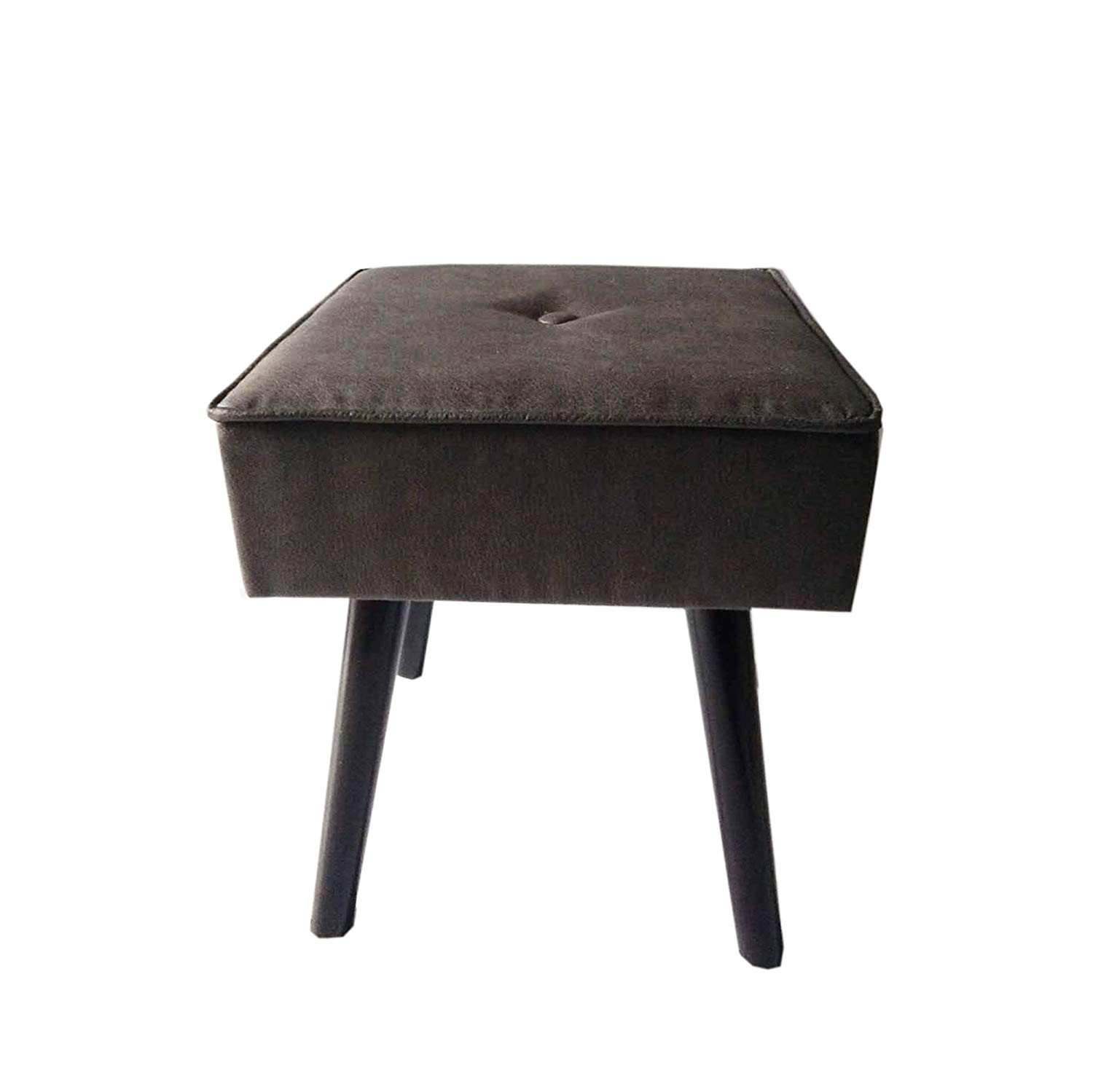 Design Guild 1230222-SM Robin Foot Stool With Wood Legs, Smoke Blue