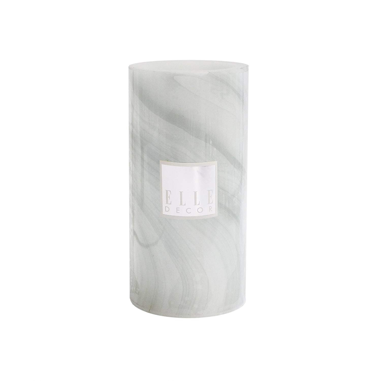"Elle Decor Marble Round Pillar LED Candle 4 x 8"", Gray"
