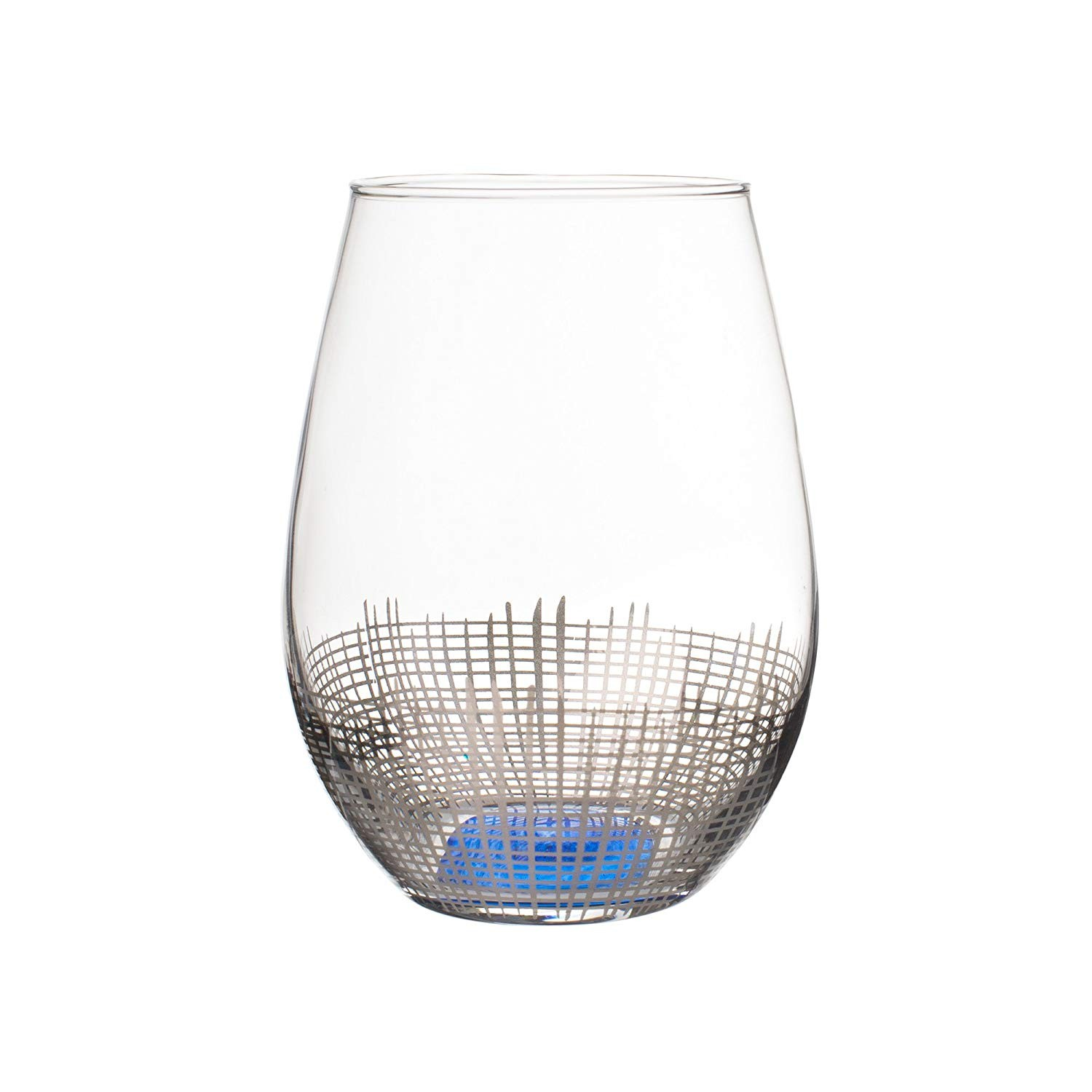 Fitz and Floyd 229140-4ST Annalise Stemless Goblets, Silver/Blue