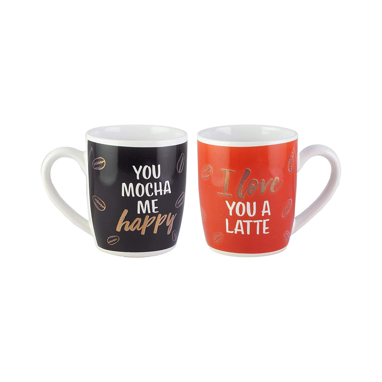 American Atelier 1562582-2M His/her Coffee Mug Set, 3.6 x 2.5 x 4, Red/Black