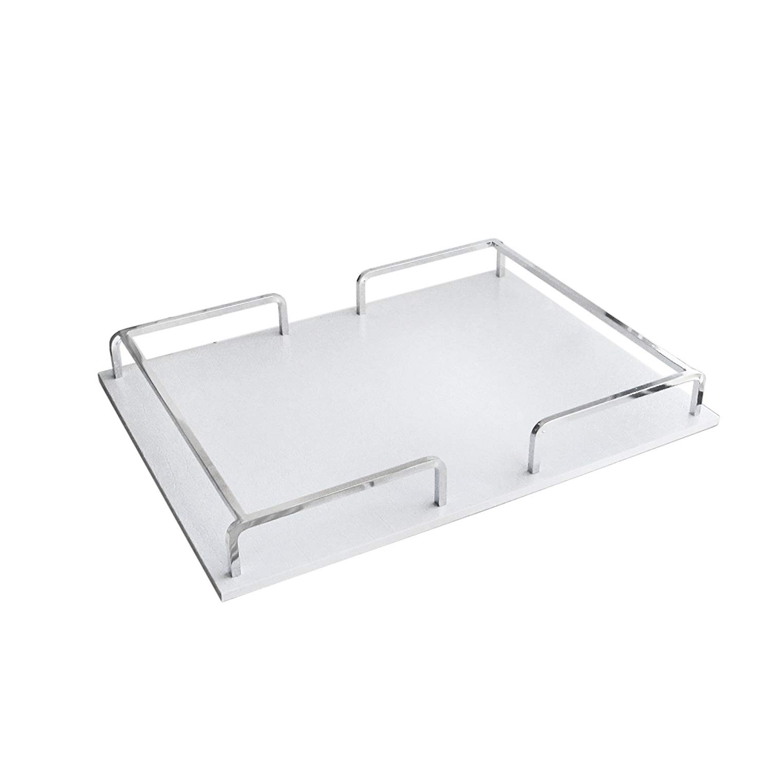 American Atelier Croc Rectangle Rail Tray, White/Silver