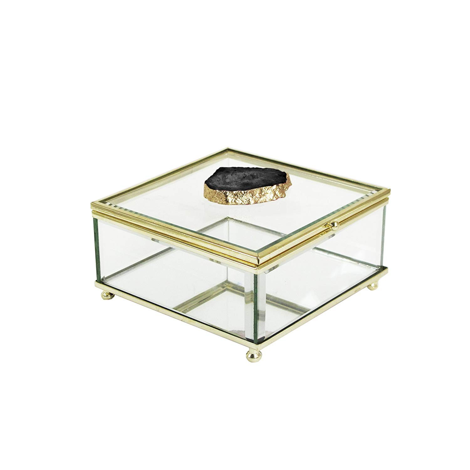 American Atelier Agate Glass Storage Box, Black/Gold