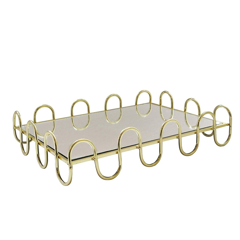American Atelier 1330860 Swirl Electroplated Rectangle Mirror Decorative Tray with Metal Rim - Gold