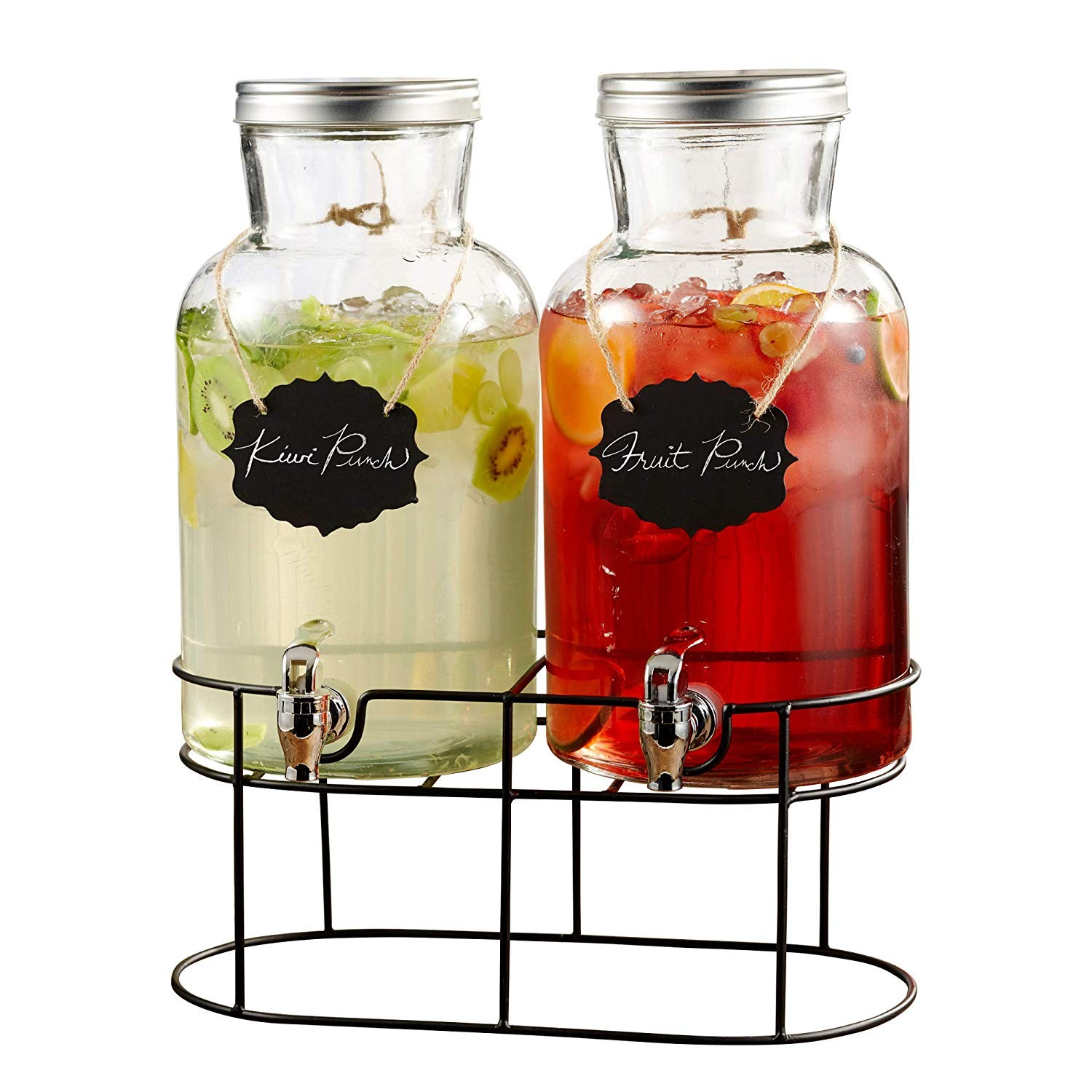 Style Setter Sierra 210439-GB 1.2 Gallon Each 2 Piece Glass Beverage Dispenser Set with Metal Stand & Lid, 15x7.5x16.5, Clear