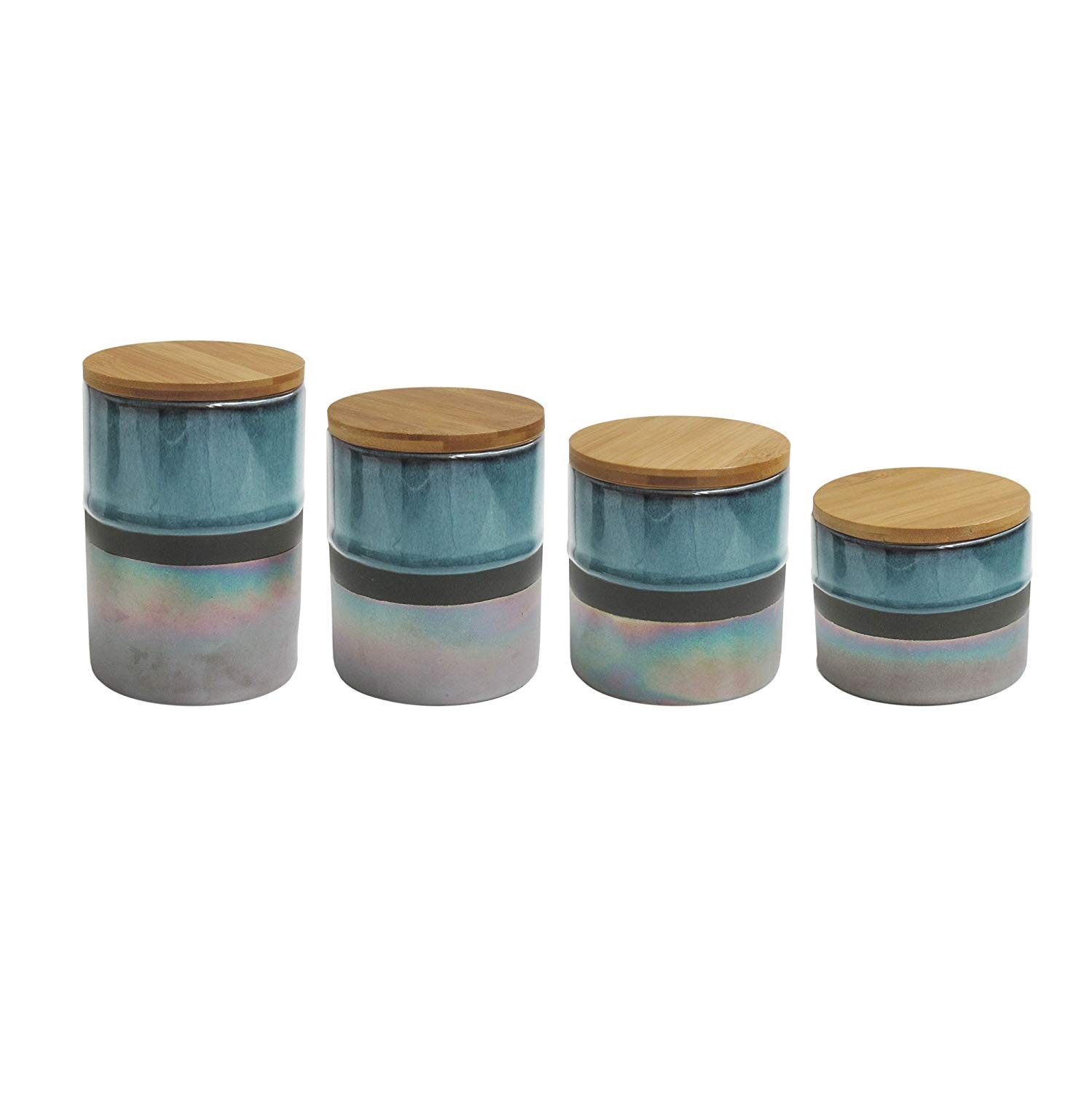 "American Atelier 7016-CAN-RB 4 Piece Abingdon Canister Set, 17"" x 4.2"" x 8"", Green/Silver"