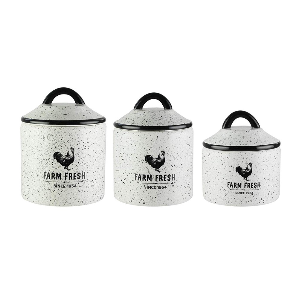 American Atelier Canister Set 3-Piece Ceramic Jars in Small, Medium, Large w/ Airtight Lids for Cookies, Candy, Coffee, Flour, Sugar, Rice, Pasta, Cereal & More (Farm Fresh)