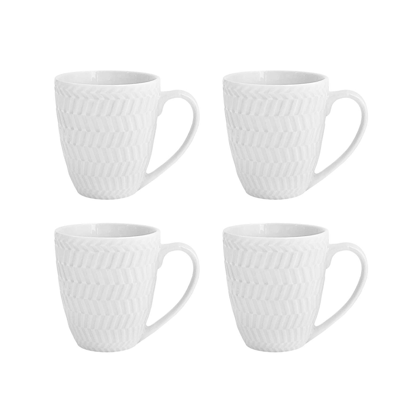 Elle Decor 6829-4M Bridgette Coffee Mugs, White