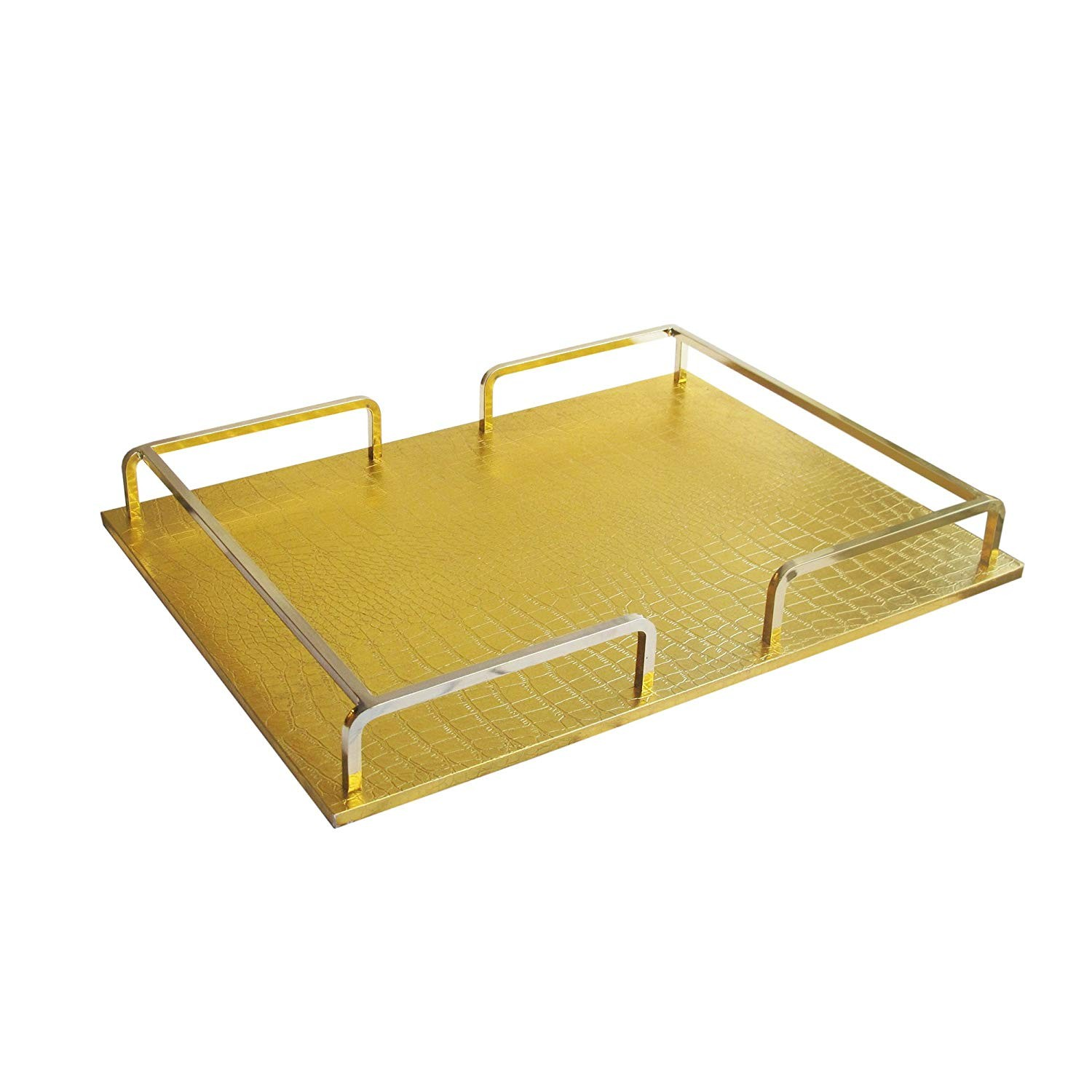 American Atelier 1330454 Croc Rail Tray, Gold/Gold, Rectangle