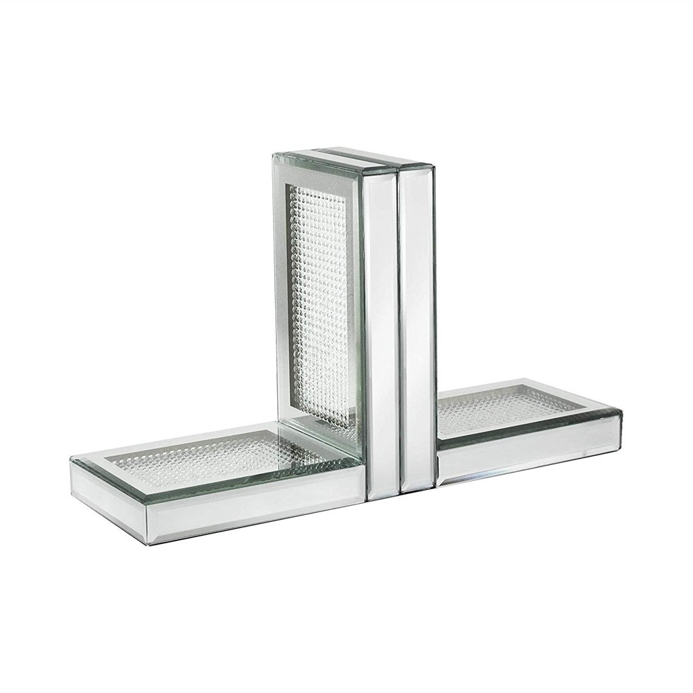 American Atelier Silver Sparkles Mirror Set of 2 Bookends