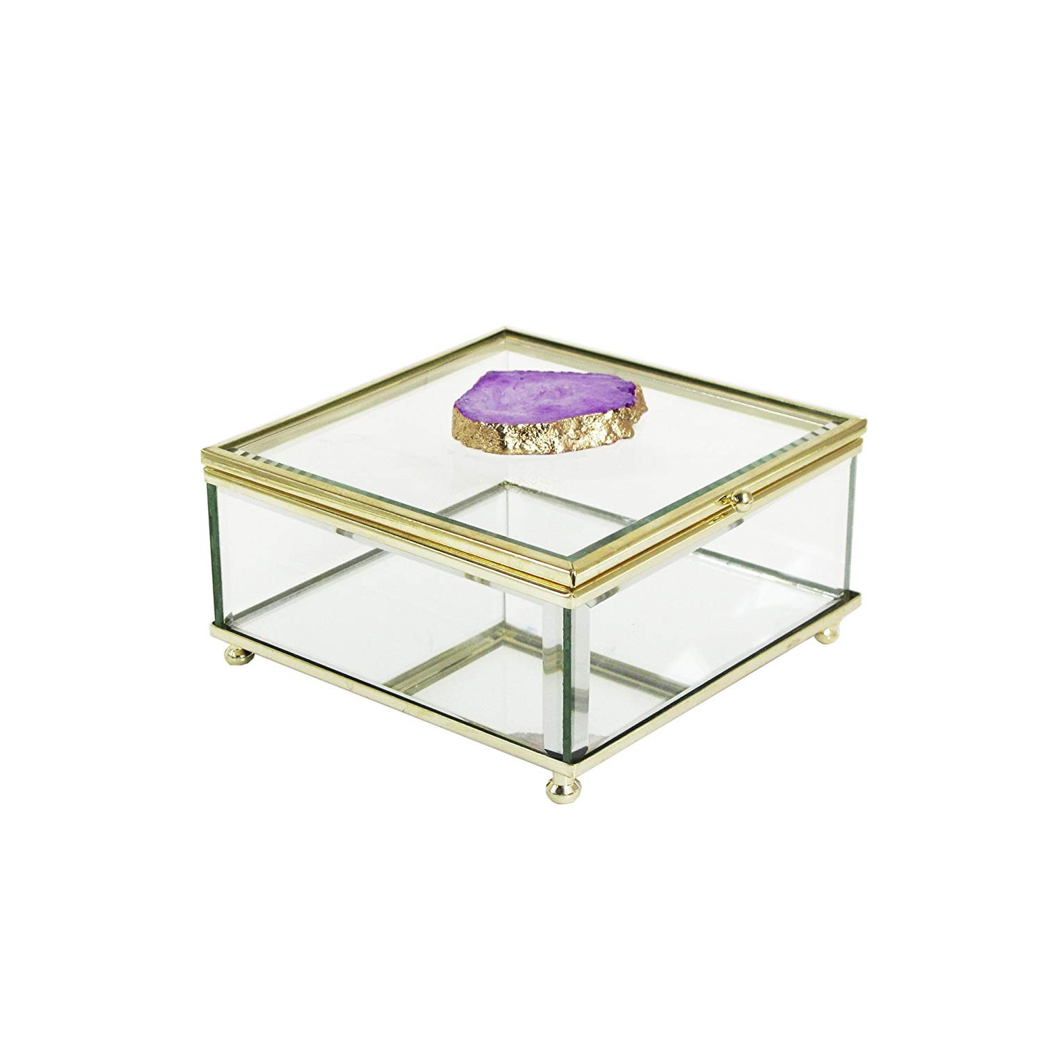 American Atelier Agate Glass Storage Box, Purple/Gold