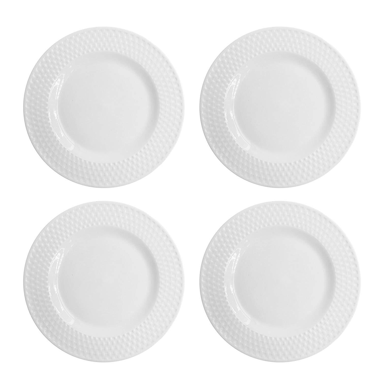 Elle Decor Juliette Set of 4 White Dinner Plates