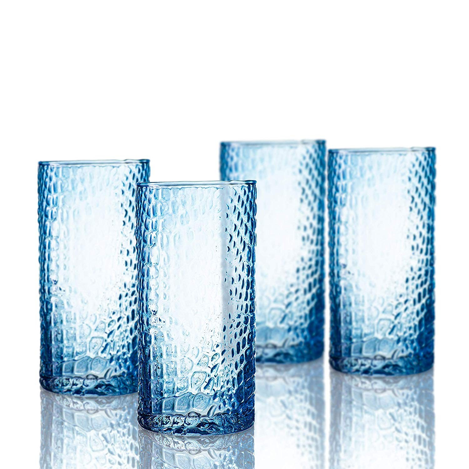 Elle Decor  229805-4HBBL Bistro Croc  4 Pc Set Highball Glasses, Blue-Glass Elegant Barware and Drinkware, Dishwasher Safe 15.5 Oz Blue