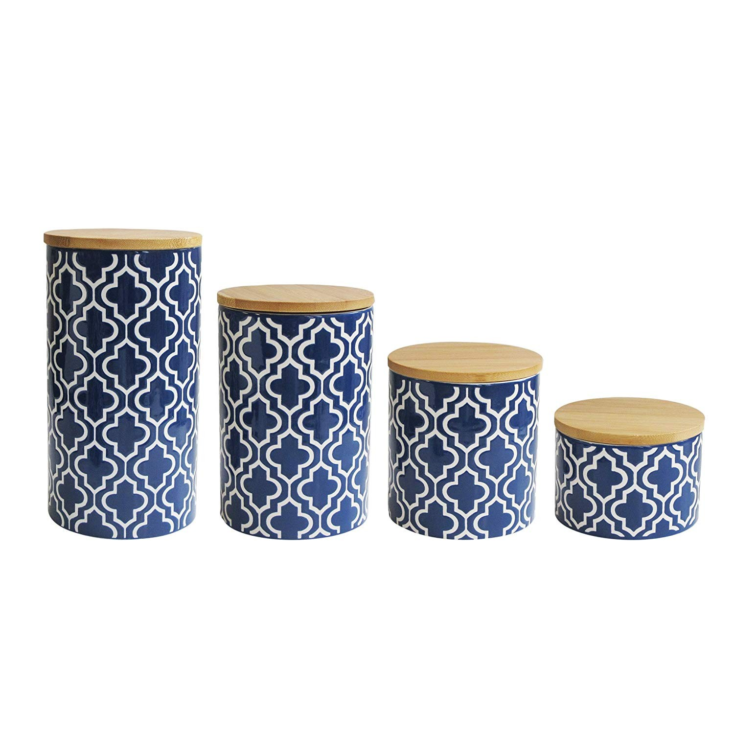 "American Atelier 5523-CAN-RB Quatrefoil Canister Set, 17"" x 4.2"" x 8"", Blue"