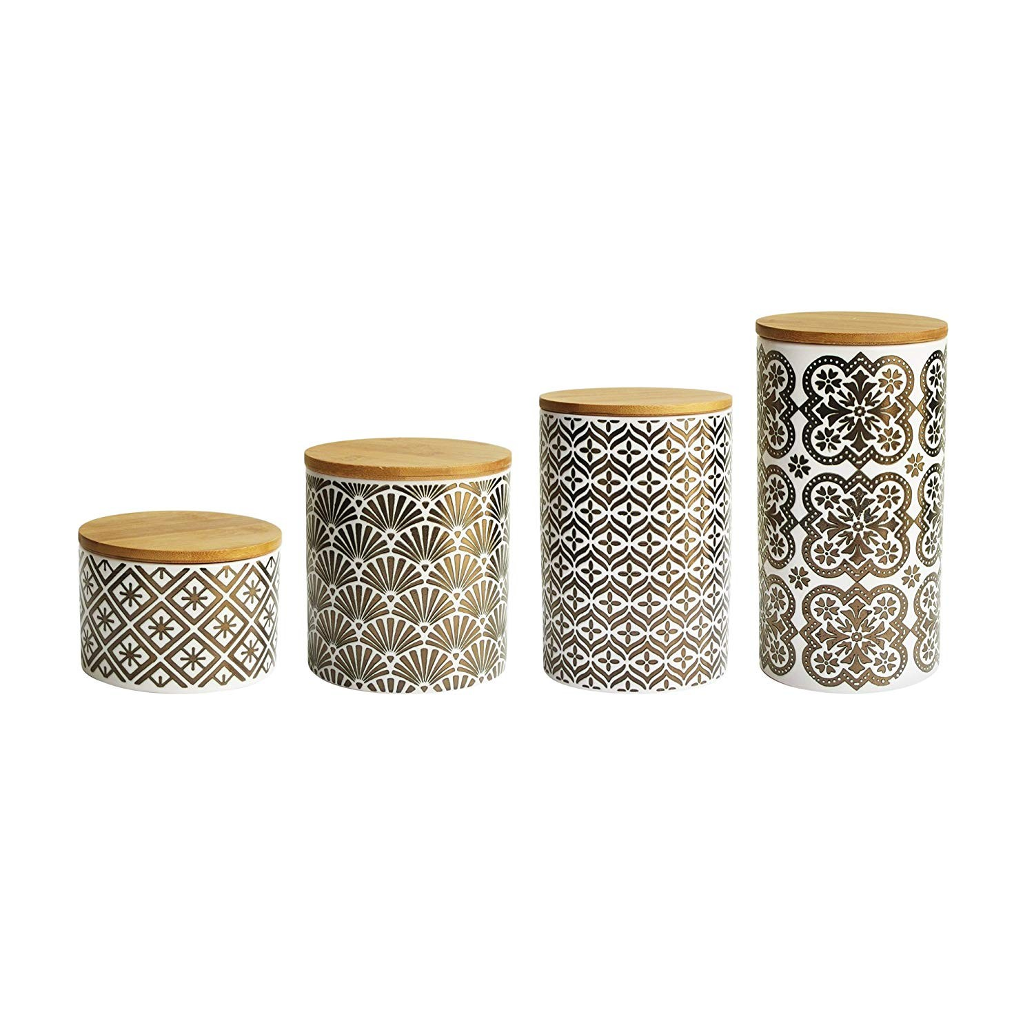 American Atelier 6477-CAN Metallic Canister Set, 17 x 4.2 x 8, Gold