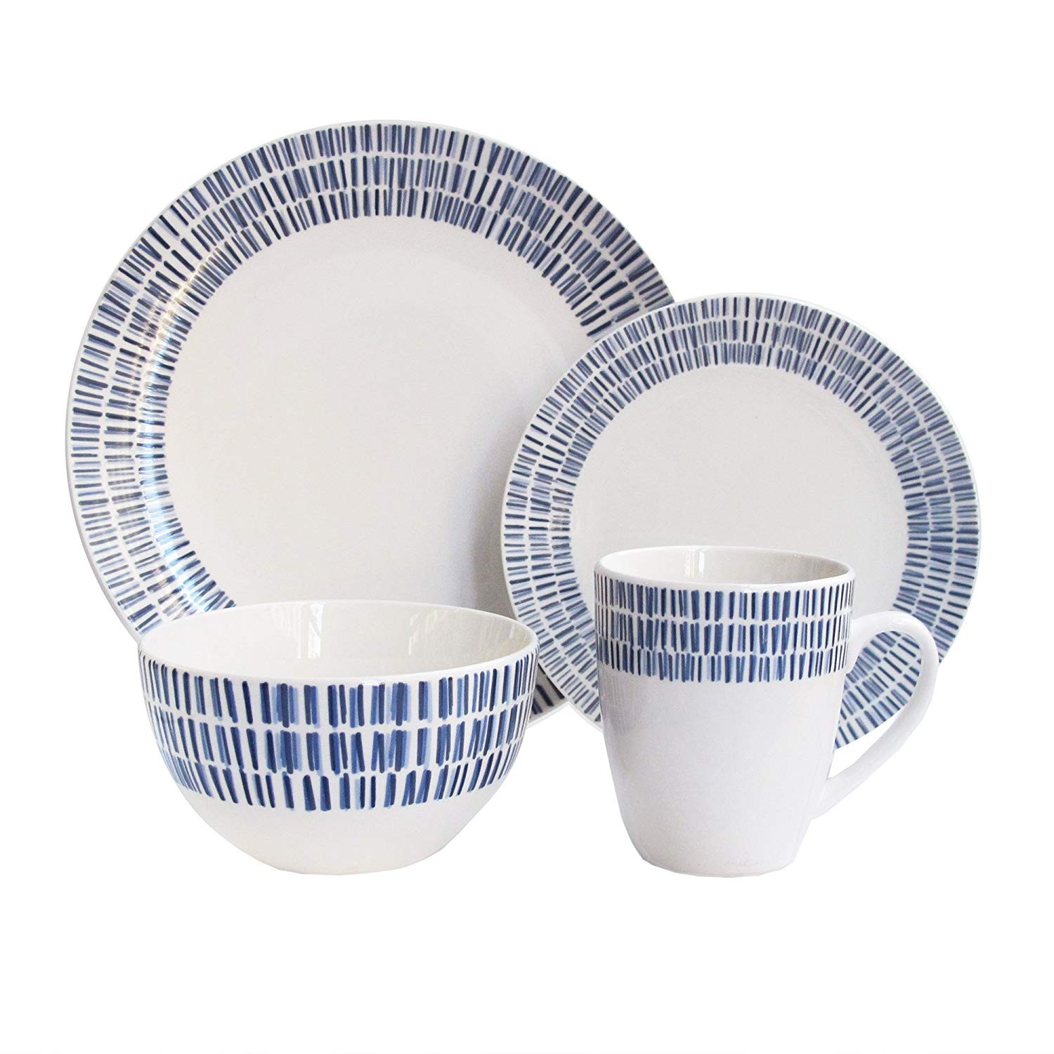 American Atelier 7084-16-RB Rhythm Dinnerware Set, 10.5 x 10.5, White/Blue
