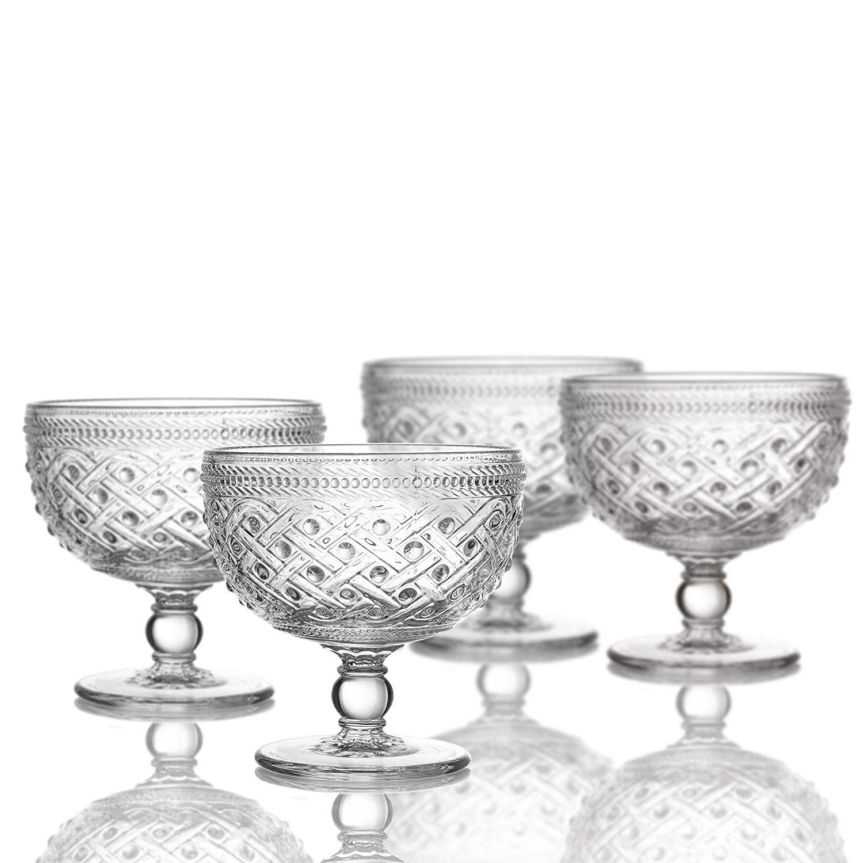 """Elle Decor 229807-4PB Bistro Ikat Pedestal Bowls, Clear, 4.3 x 4.3"""""""