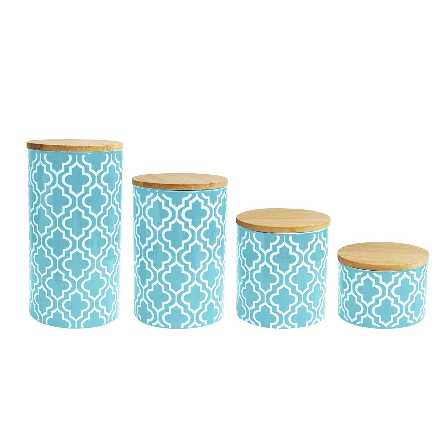 "American Atelier 5523-CANTLRB Quatrefoil Canister Set, 17"" x 4.2"" x 8"", Green"
