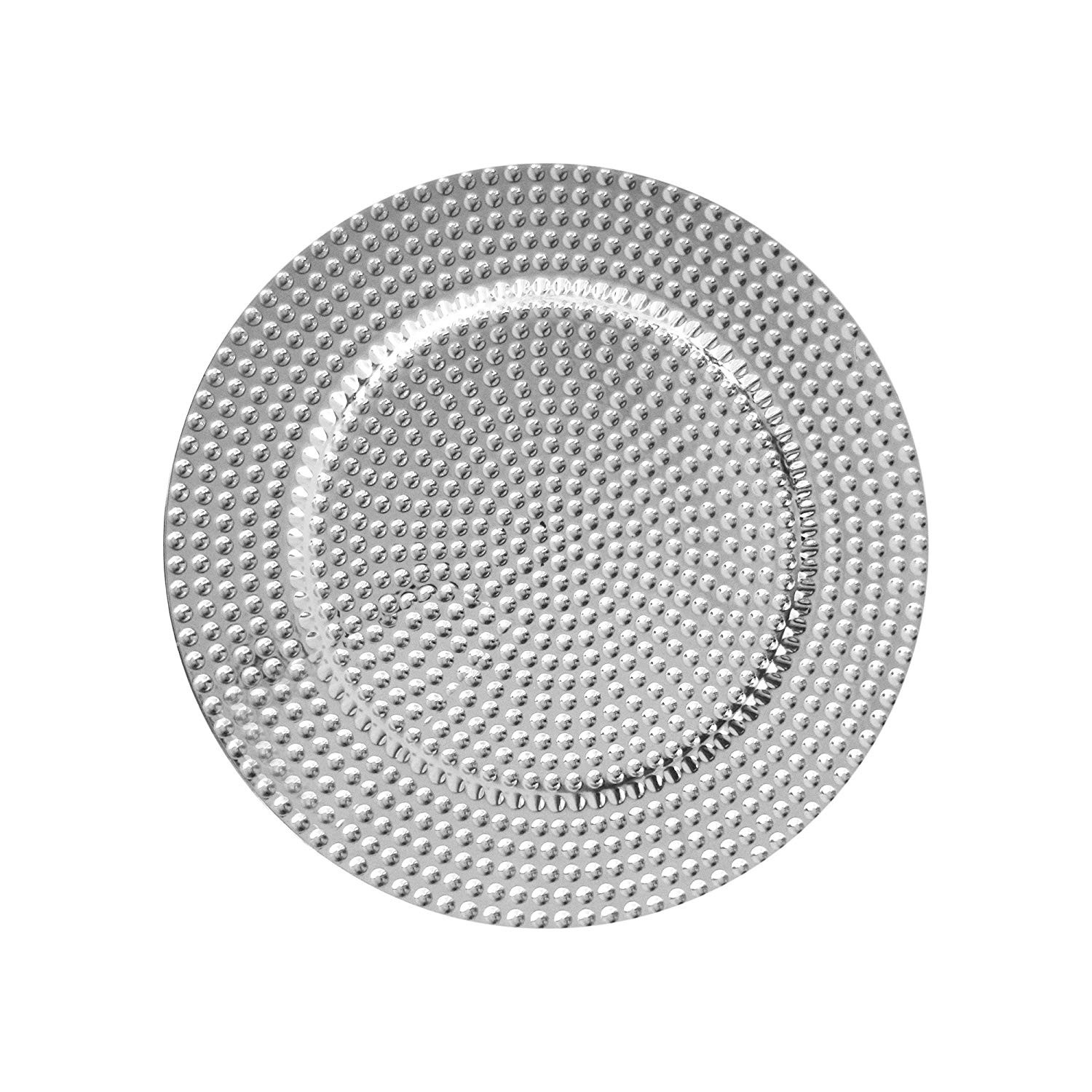 ChargeIt by Jay Beaded Charger Plates (Set of 4), Silver