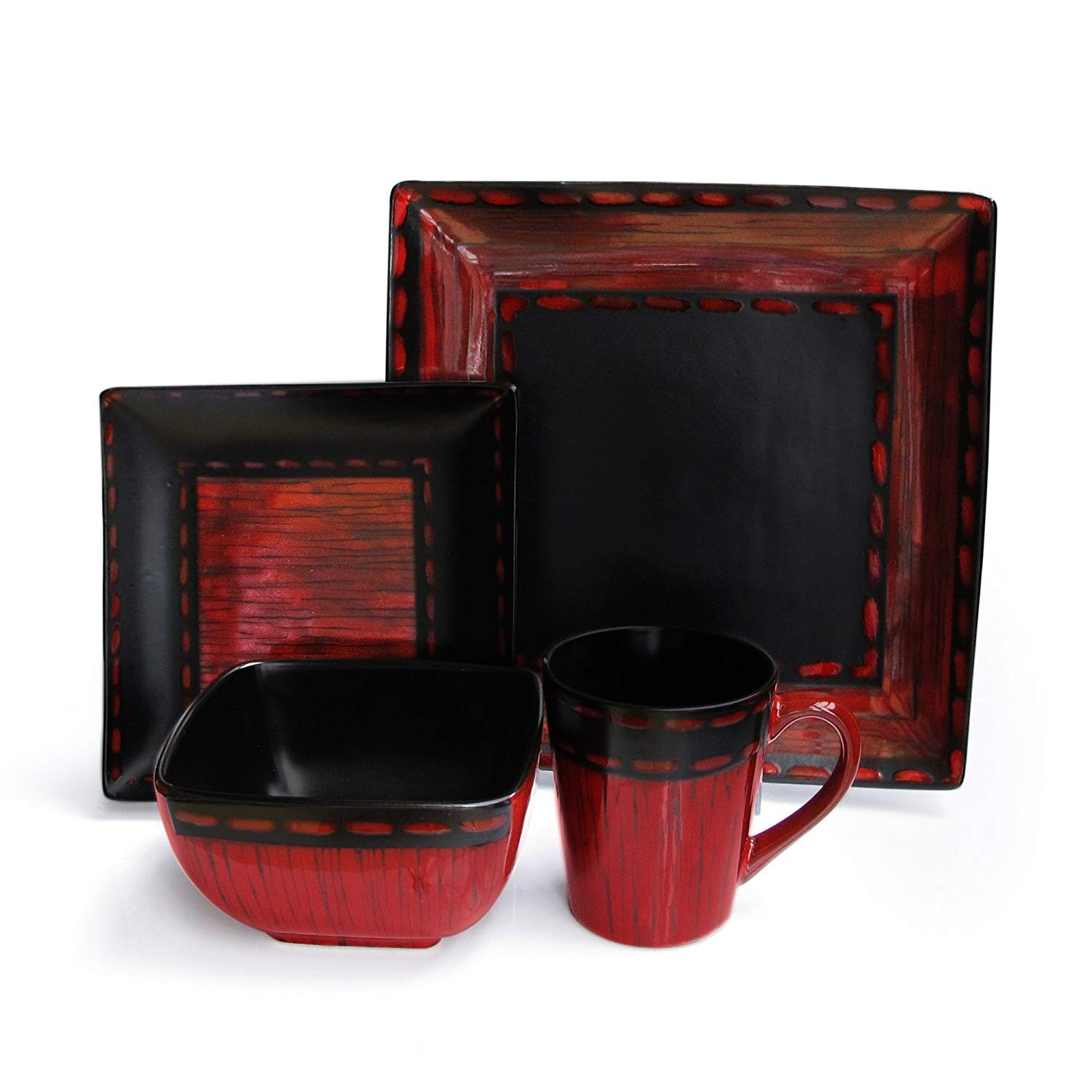 American Atelier Livingston 16-Piece Dinnerware Set, Red
