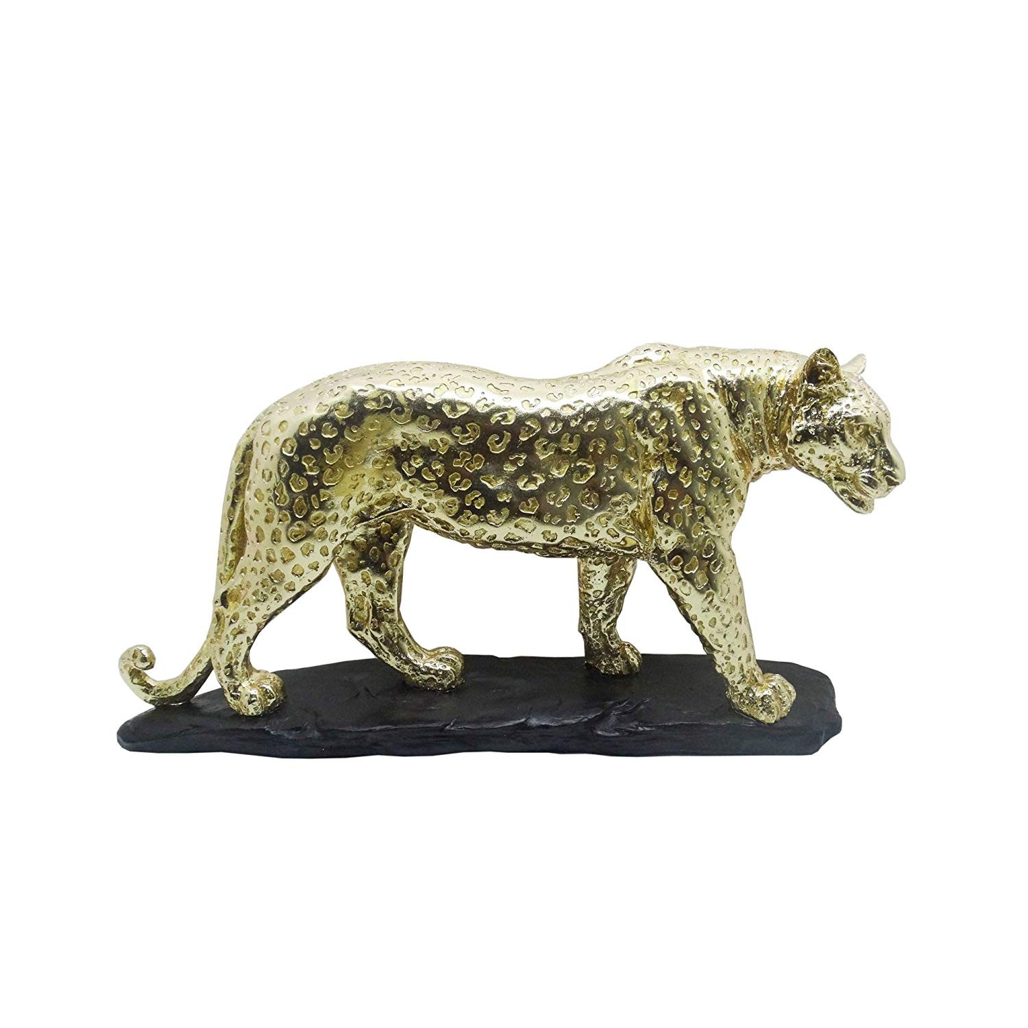 American Atelier Leopard Figurine, Gold with Black Base